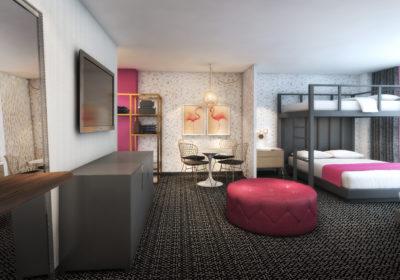 Flamingo Las Vegas_Bunk Bed Suite Rendering_Bedroom_Final
